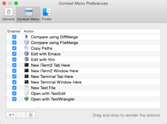 Context Menu Preferences